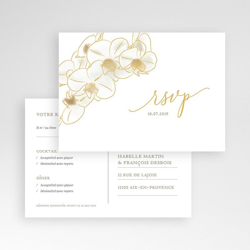 Carton Réponse Mariage Orchidées dorées pas cher