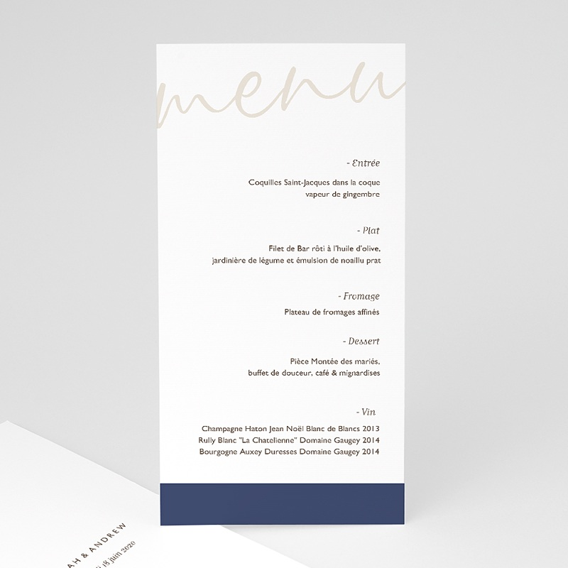 Menu Mariage Blue Color Touch