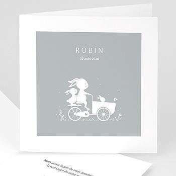 Faire part de naissance garçon bicyclette et silhouette bleu