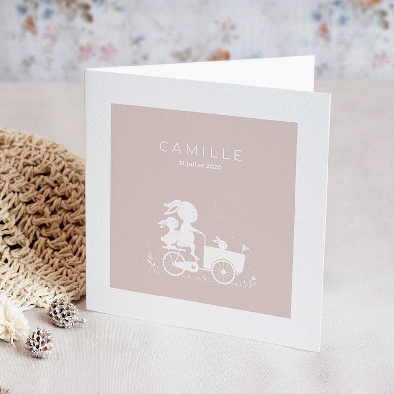 Faire-Part Naissance Fille - Vélo Poussette 70153 thumb