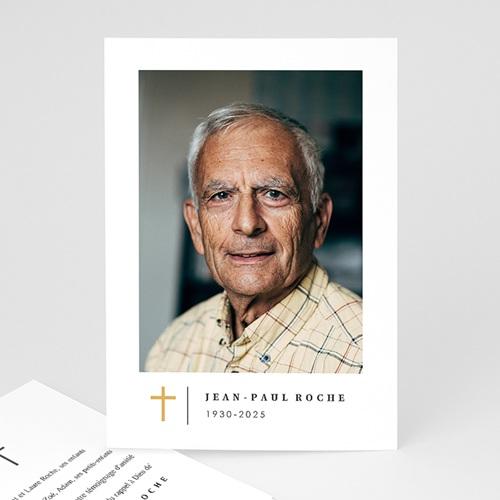 Carte Remerciement Décès Croix Dorée