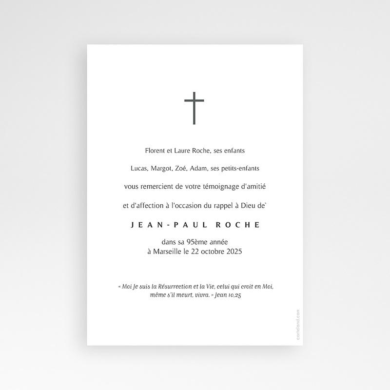 Carte Remerciement Décès Croix Dorée pas cher