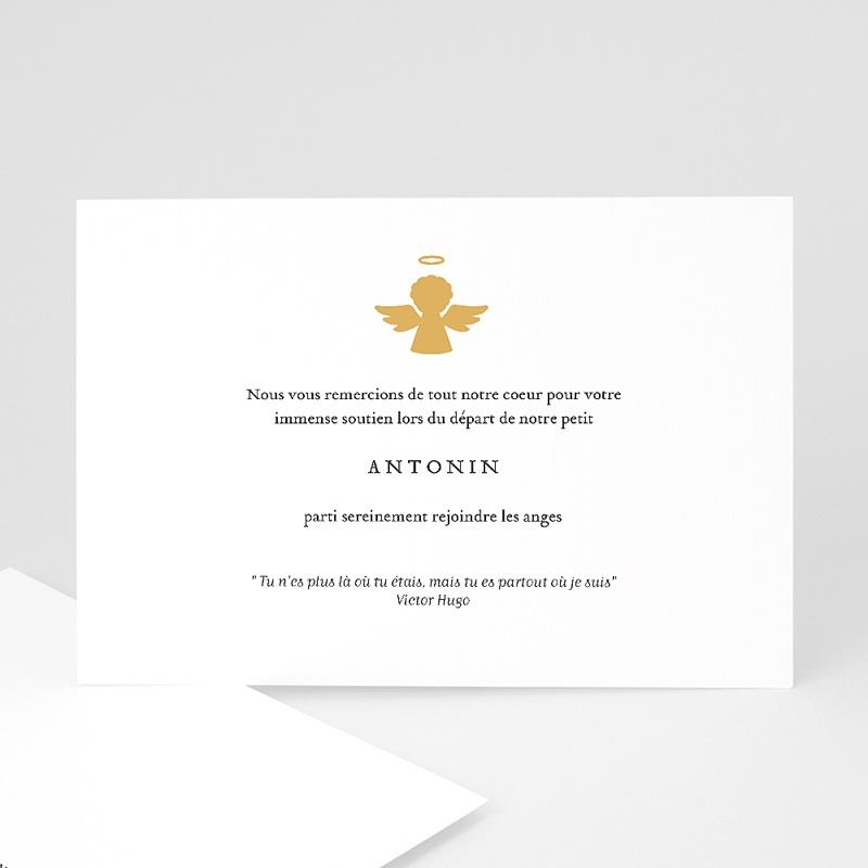 Carte Remerciement Décès Ange d'or