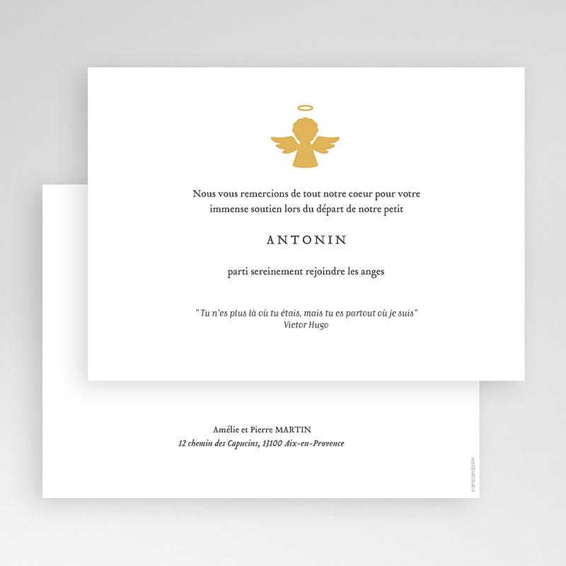 Carte Remerciement Décès Ange d'or gratuit