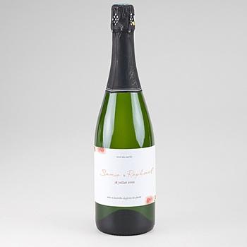 Etiquette bouteille champagne pivoines chic personnalisable