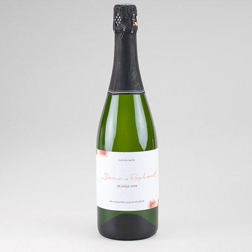 Etiquette Bouteille Champagne Pivoines Chic