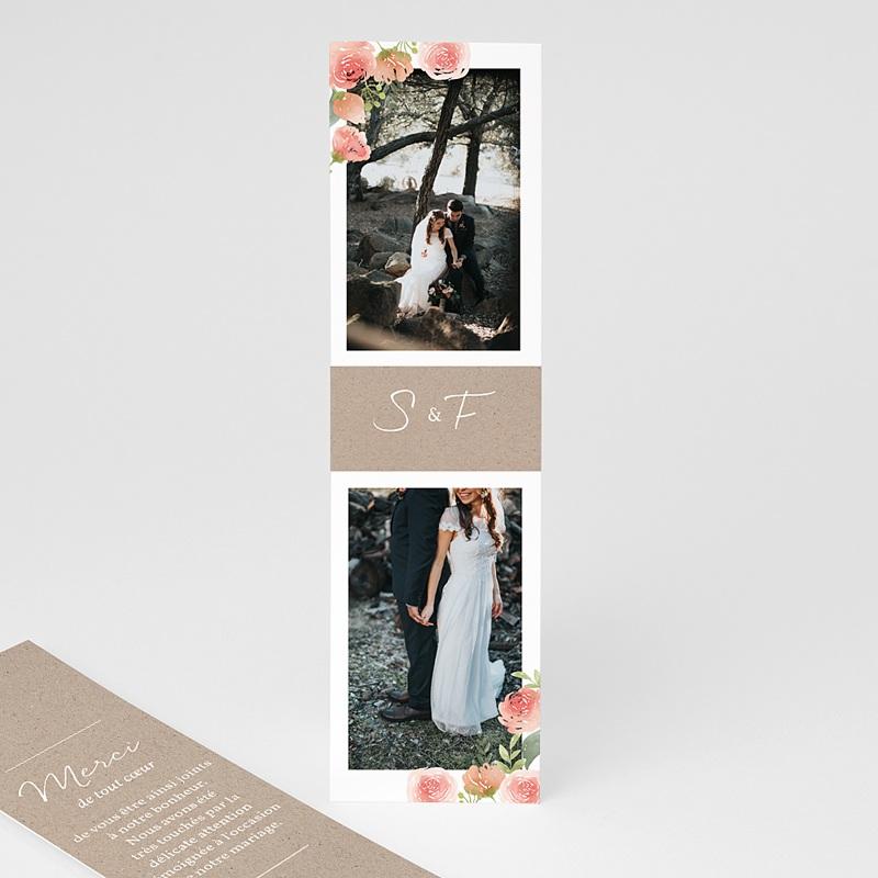 Carte remerciement mariage kraft Champêtre Chic