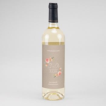 Étiquette bouteille mariage vin - Champêtre Chic - 0