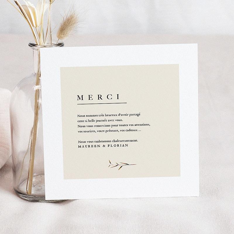 Carte Remerciement Mariage Champêtre Champêtre Epuré