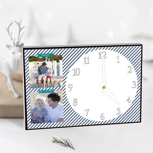 Horloge Personnalisée Photo A l'heure des rayures pas cher