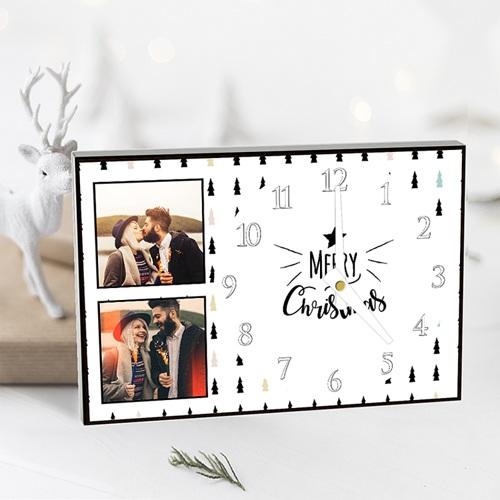 Horloge personnalisée photo Joyeux Noel pas cher