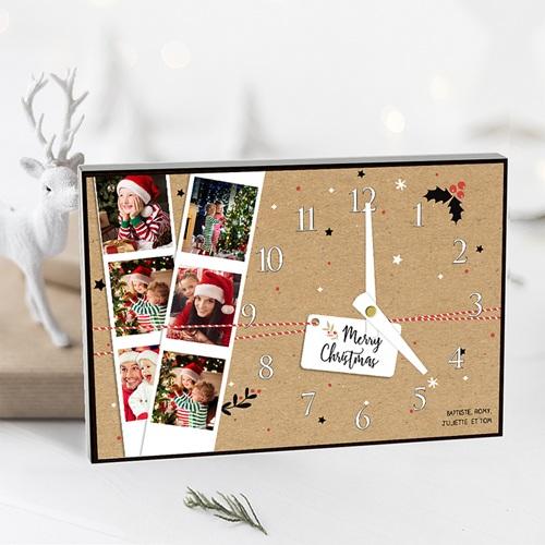Horloge personnalisée photo Le temps de Noel pas cher