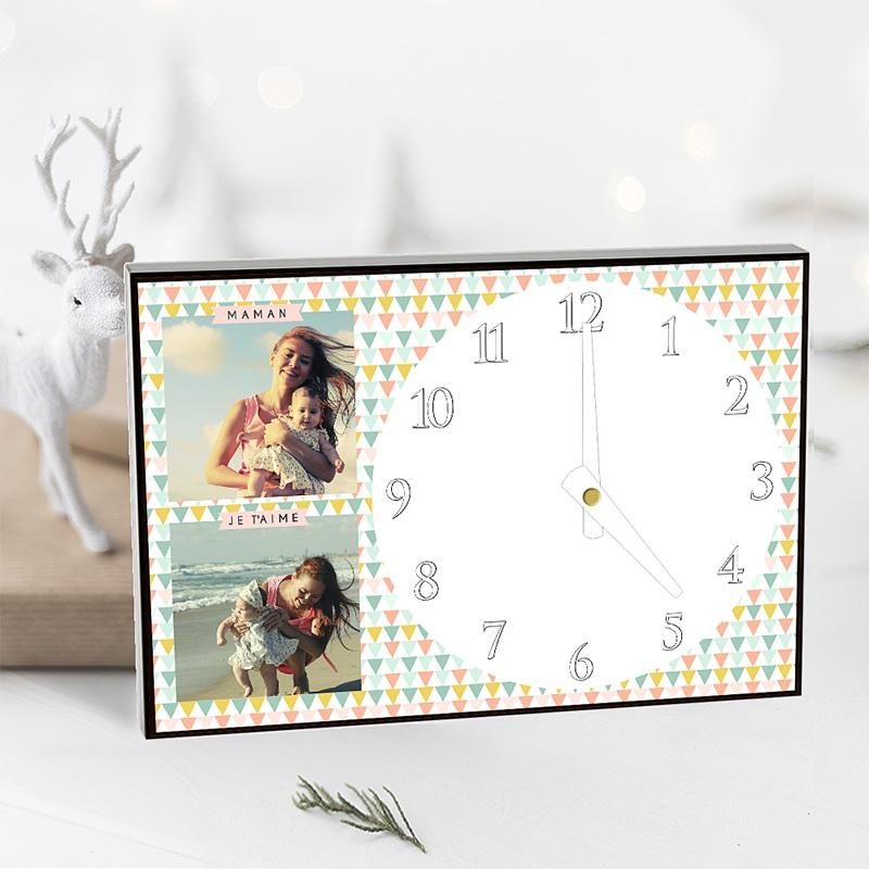 Horloge Personnalisée Photo A l'heure des triangles pas cher