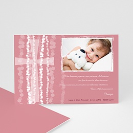 Remerciements Baptême Fille - Croix Contemporaine Rose - 3