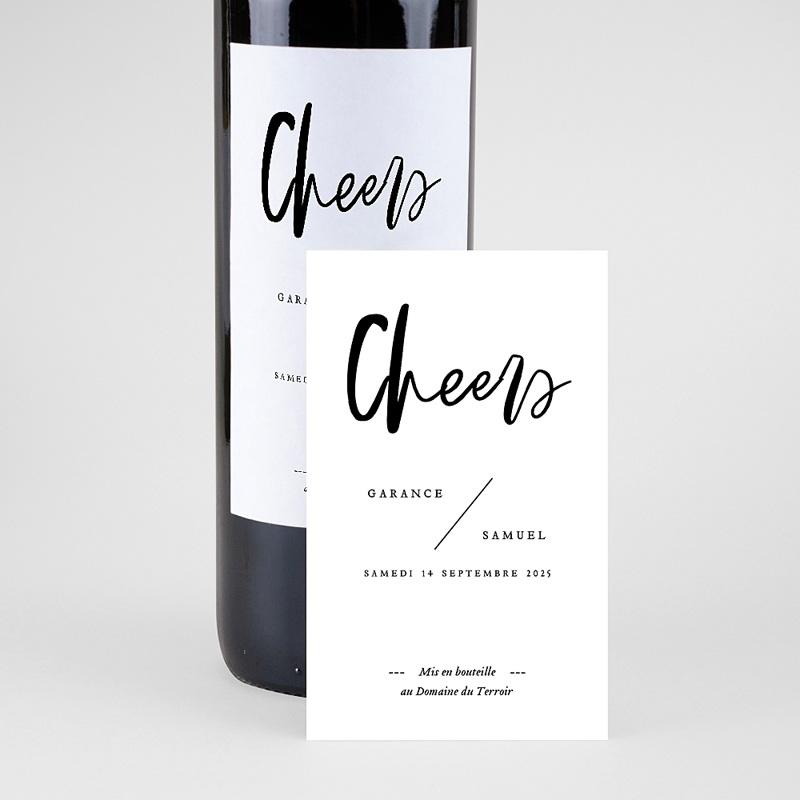Étiquette bouteille mariage vin Effet Brush pas cher