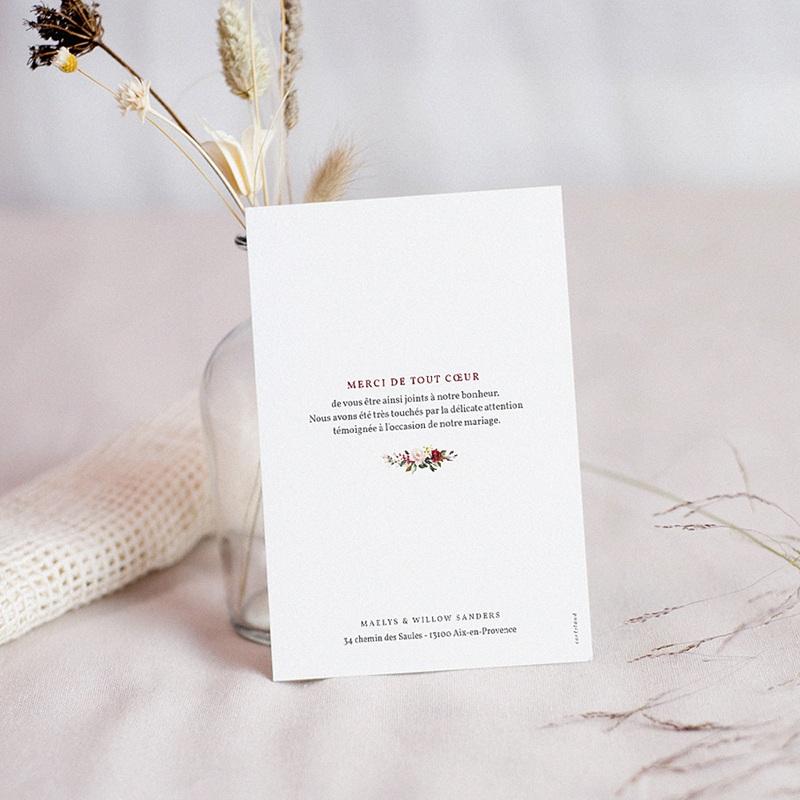 Carte remerciement mariage boheme Couronne Marsala pas cher