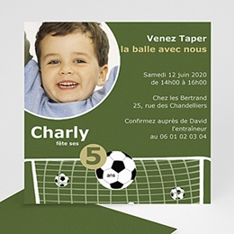 Invitations Anniversaire enfant Partie de Football