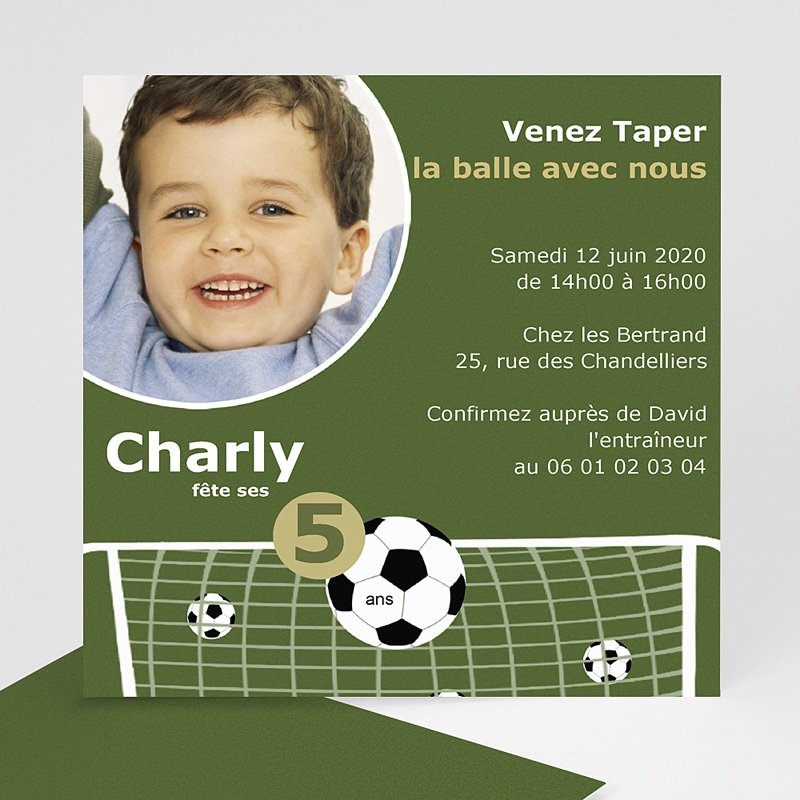 Carte invitation anniversaire garçon Football