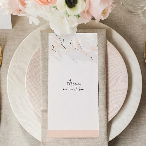 Menu Mariage Marbre Rose Pastel gratuit