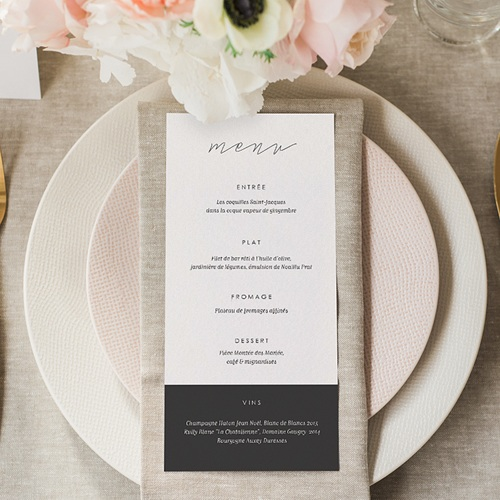 Menu Mariage Minimaliste Gris & Blanc gratuit