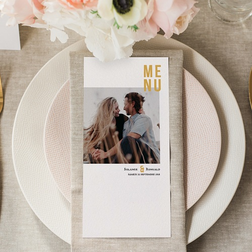 Menu Mariage Photo & Typo gratuit