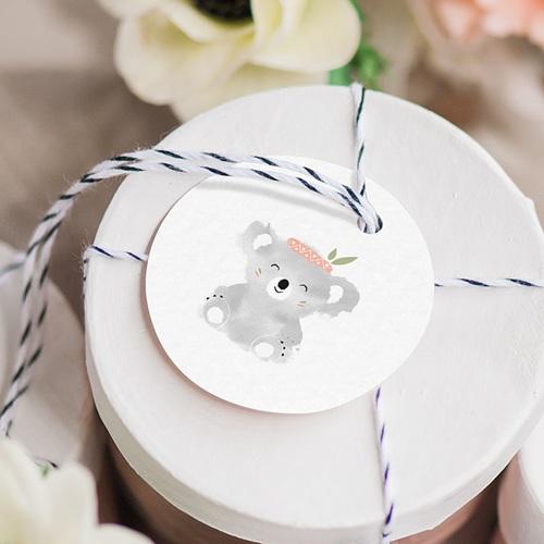 Etiquette Cadeau Naissance Koala Rose gratuit