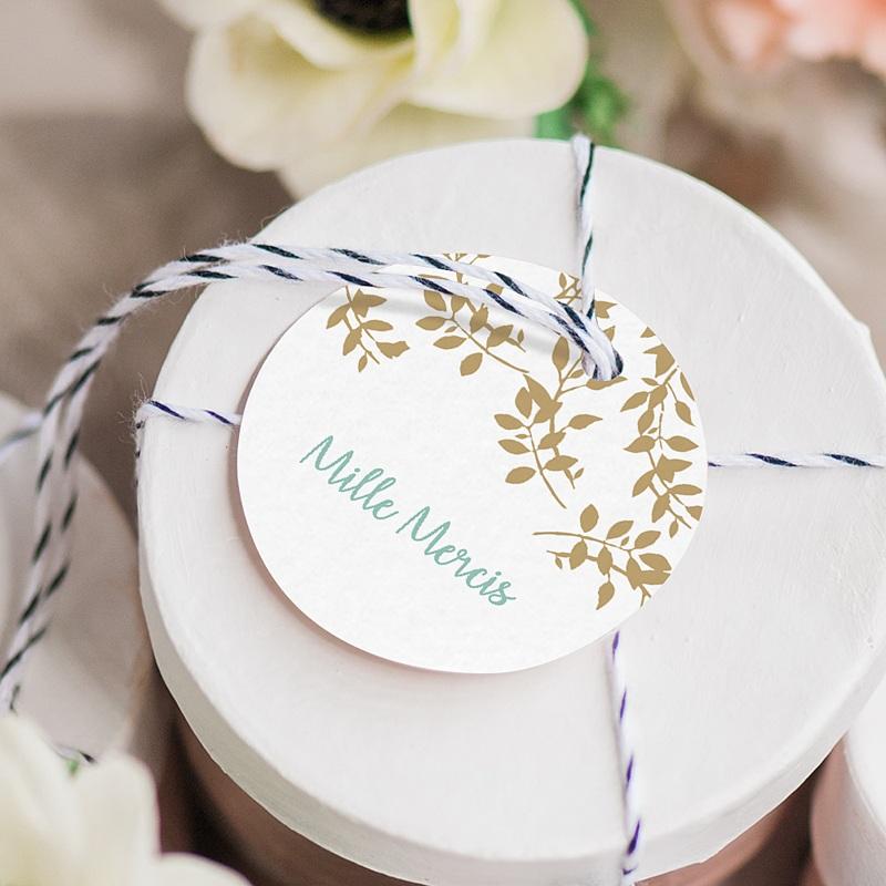 Etiquette Cadeau Mariage Feuillage Doré gratuit