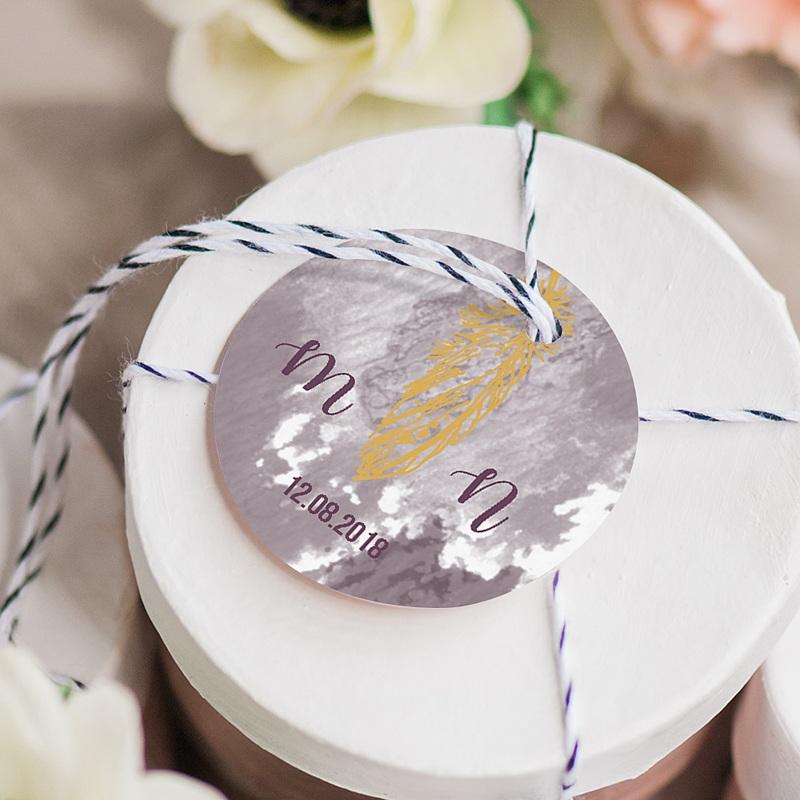 Etiquette Cadeau Mariage Boho Lie de Vin gratuit