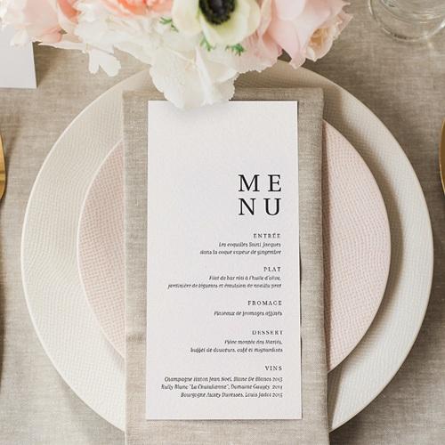 Menu Mariage Carré Typographique gratuit