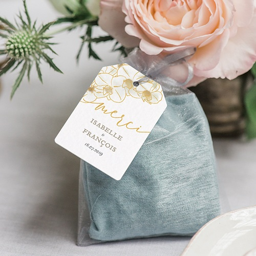 Etiquette Cadeau Mariage Orchidées dorées gratuit