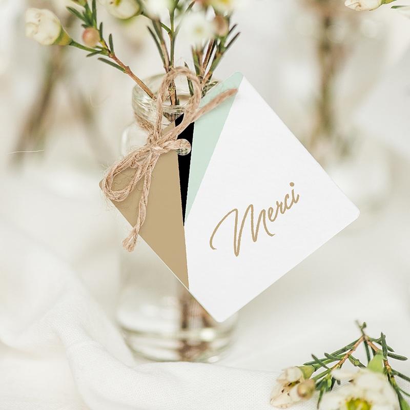Etiquette Cadeau Mariage Vert & Doré