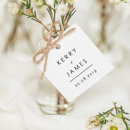 Etiquette Cadeau Mariage Minimaliste Gris & Blanc