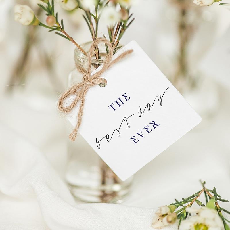 Etiquette Cadeau Mariage Bleu Grec