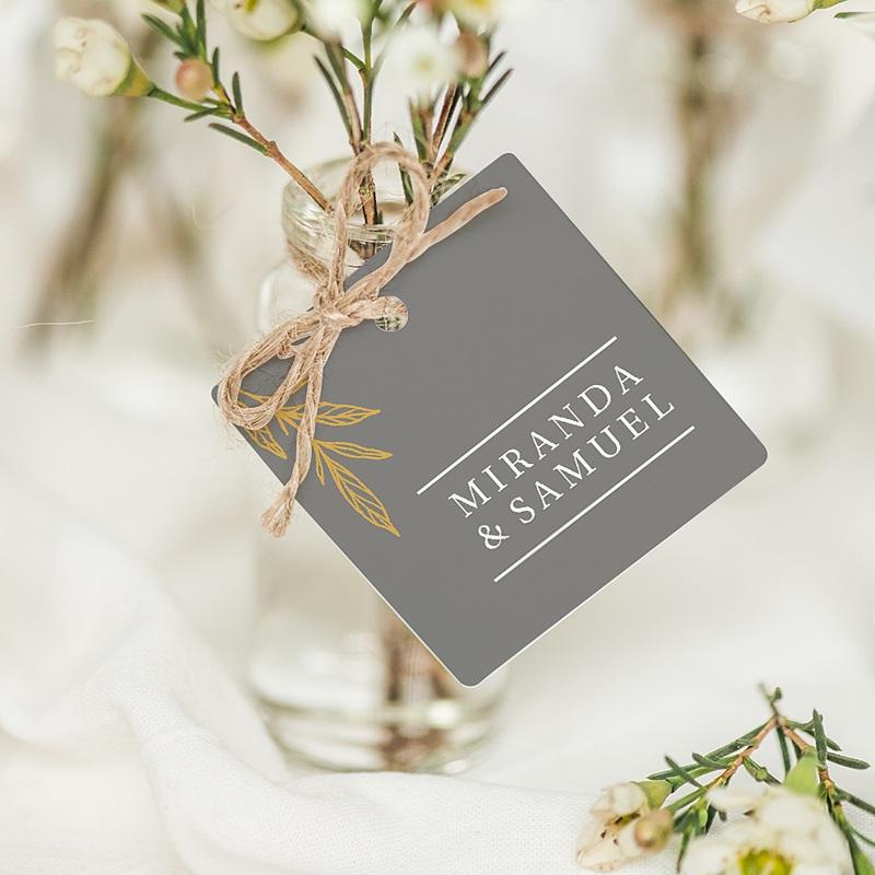 Etiquette Cadeau Mariage Minimal Botanic