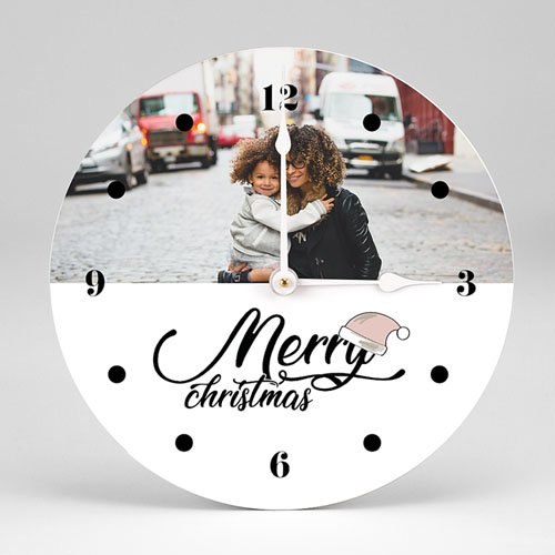 Horloge Personnalisée Photo Merry Christmas