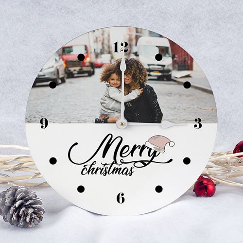 Horloge Personnalisée Photo Merry Christmas pas cher