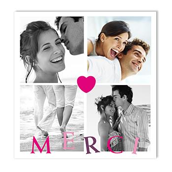 Cartes multi-photos 3 et + coeur rose - 4 photos personnalisable