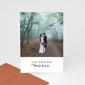 Achat carte remerciement mariage photo calligraphie cannelle