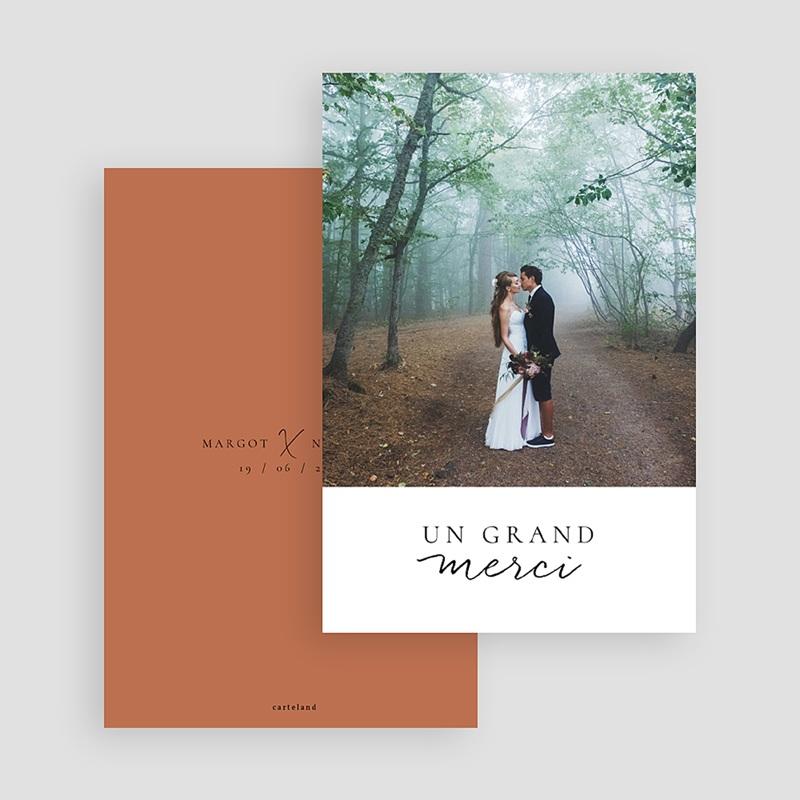 Carte Remerciement Mariage Photo Calligraphie Cannelle gratuit