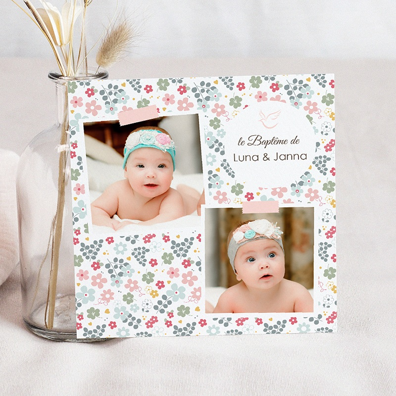 Faire-part baptême jumeaux Eau Florale
