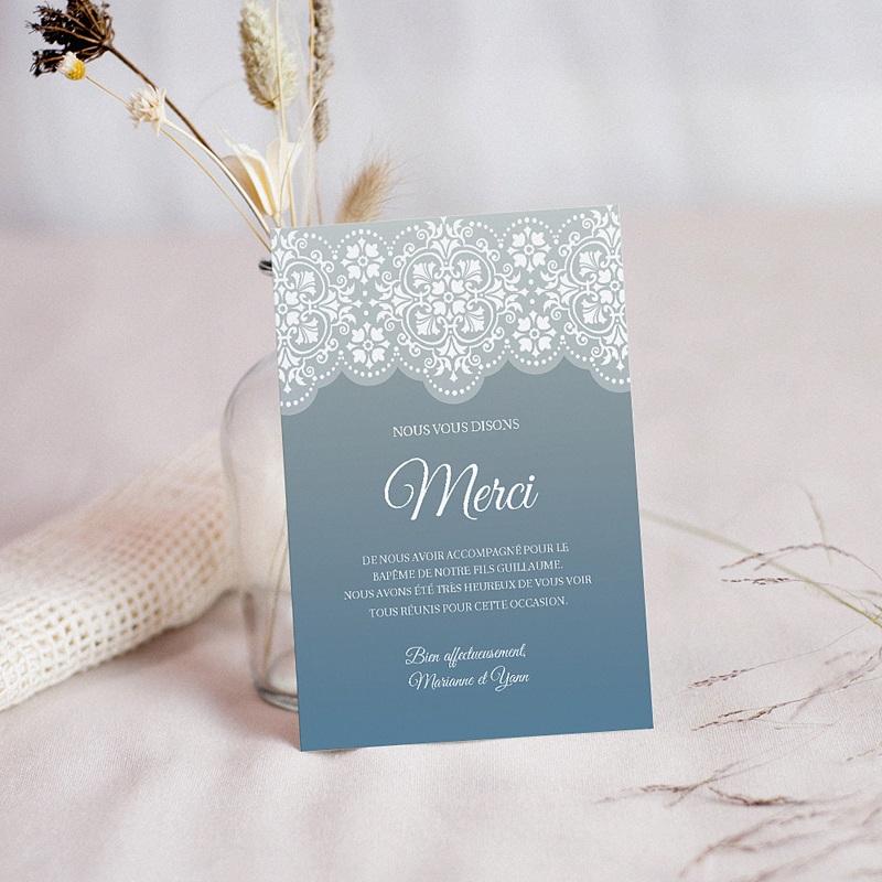Carte remerciement baptême garçon Azulejos gris