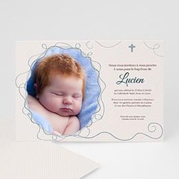 Faire-Part Baptême Cadre Azur