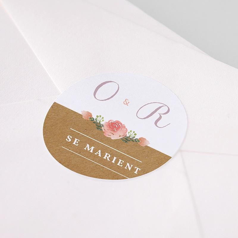 Etiquette autocollante mariage Couronne Florale pas cher