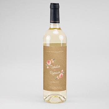 Étiquette bouteille mariage vin - Couronne Florale - 0