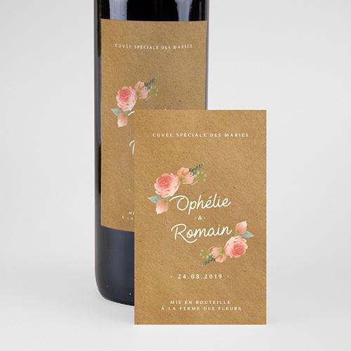 Étiquette bouteille mariage vin Couronne Florale pas cher