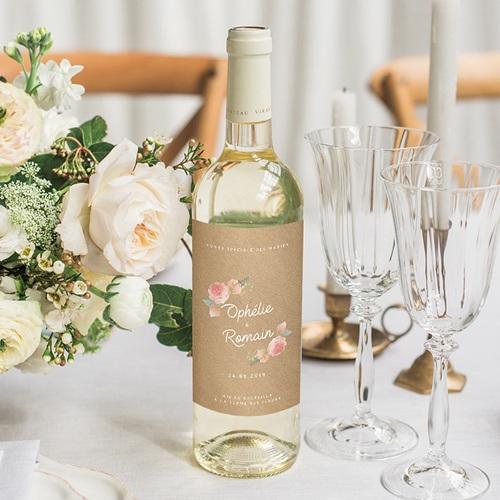 Étiquette bouteille mariage vin Couronne Florale