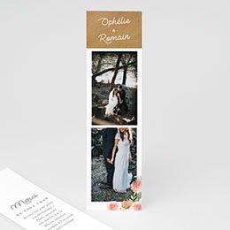 Carte remerciement mariage champêtre Couronne Florale
