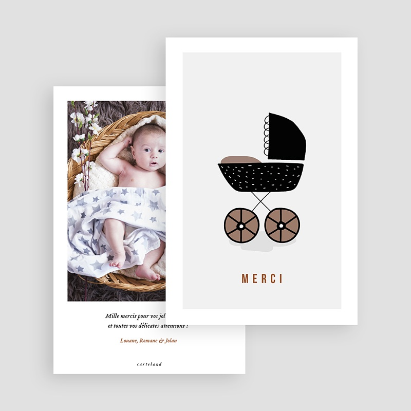 Carte remerciement naissance fille Landau Rétro gratuit