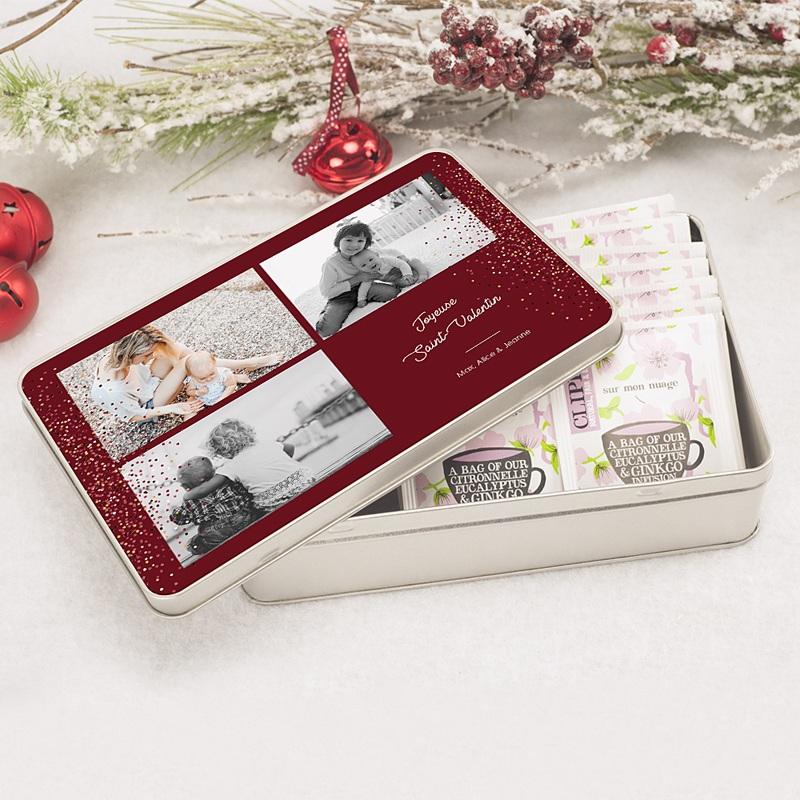 Boîte en métal rectangle Noel magique pas cher