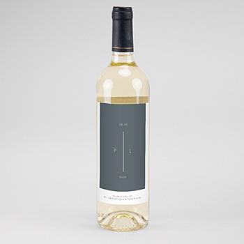Création étiquette bouteille mariage vin bleu minéral